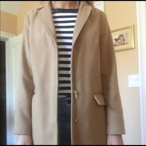 Topshop camel coat with fur collar